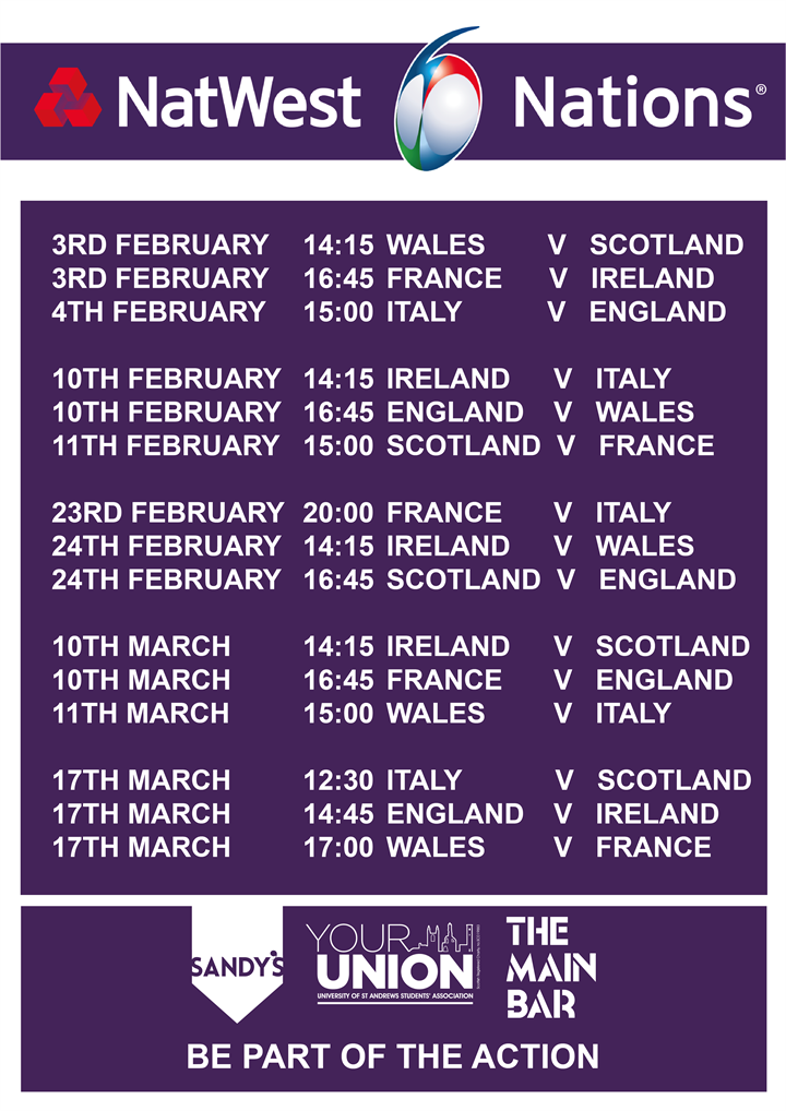 6 Nations Rugby LIVE at Sandy's Bar